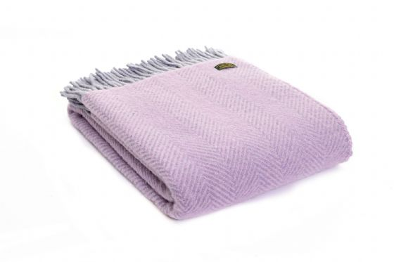 Herringbone Lilac & Stone Egg Wool Blanket / Throw